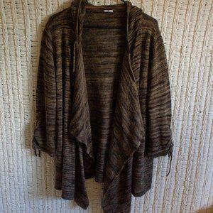 brown hooded cardigan